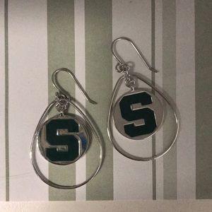 Michigan Stats dangling silver earrings